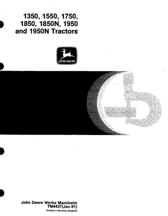 First Additional product image for - John Deere 1350, 1550, 1750, 1850, 1850N, 1950, 1950N Tractors Technical Service Manual (tm4437)
