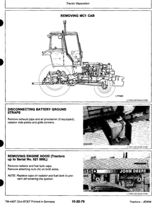 Second Additional product image for - John Deere 1350, 1550, 1750, 1850, 1850N, 1950, 1950N Tractors Technical Service Manual (tm4437)