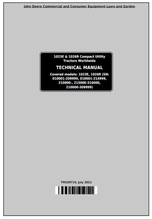 First Additional product image for - John Deere 1023E & 1026R Worldwide Compact Utility Tractors Technical Manual (TM109719)