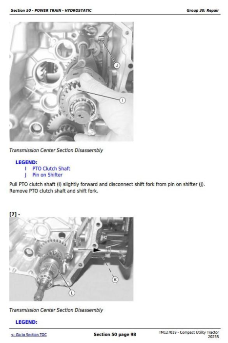 Second Additional product image for - John Deere Compact Utility Tractor 2025R Technical Service Manual (TM127019)
