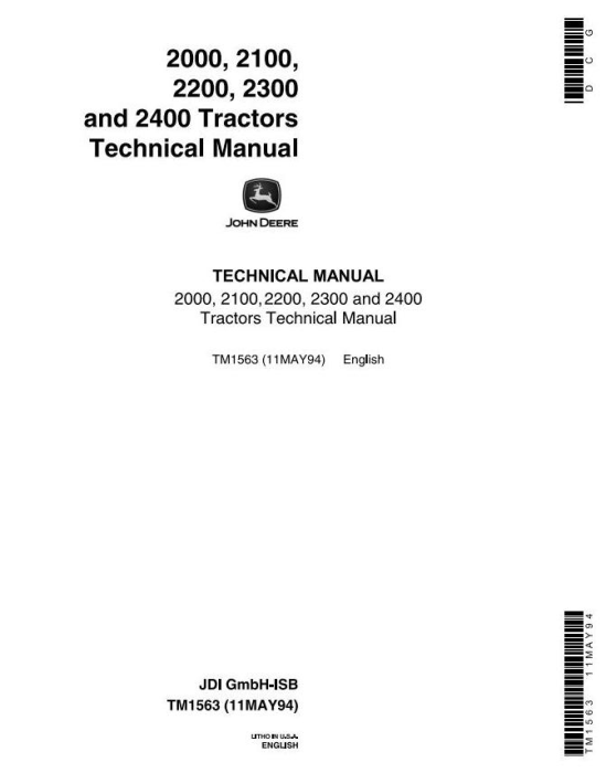 First Additional product image for - John Deere 2000, 2100, 2200, 2300, 2400 Tractors Technical Service Manual (tm1563)
