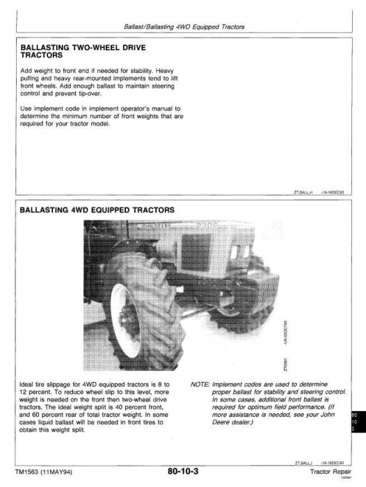 Fourth Additional product image for - John Deere 2000, 2100, 2200, 2300, 2400 Tractors Technical Service Manual (tm1563)