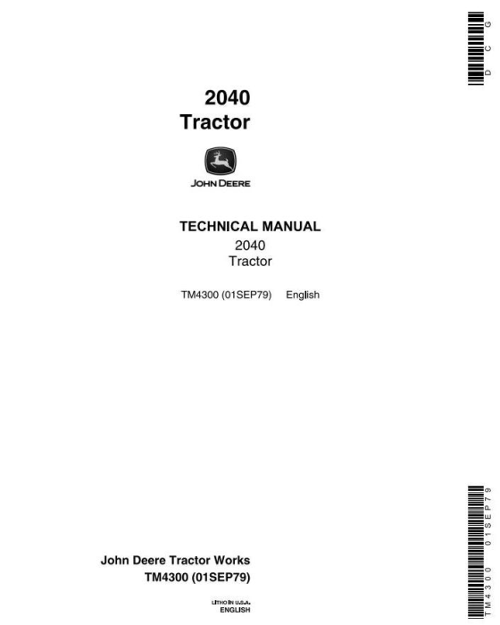 First Additional product image for - John Deere 2040 Utility Tractors (SN. 010001-349999) Technical Service Manual (tm4300)