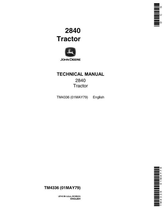 First Additional product image for - John Deere 2840 Utility Tractor Technical Service Manual (tm4336)