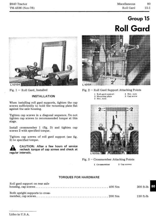 Fourth Additional product image for - John Deere 2840 Utility Tractor Technical Service Manual (tm4336)