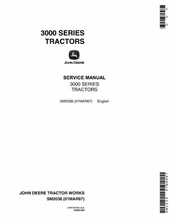 First Additional product image for - John Deere 3010,3020 Row-Crop,Standard,Hi-Crop,Utility,Orchard Tractors Service Technical Manual (sm2038)