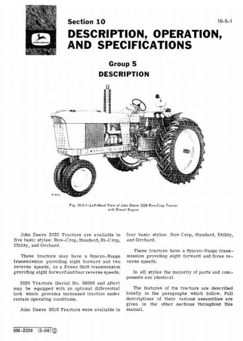 Second Additional product image for - John Deere 3010,3020 Row-Crop,Standard,Hi-Crop,Utility,Orchard Tractors Service Technical Manual (sm2038)