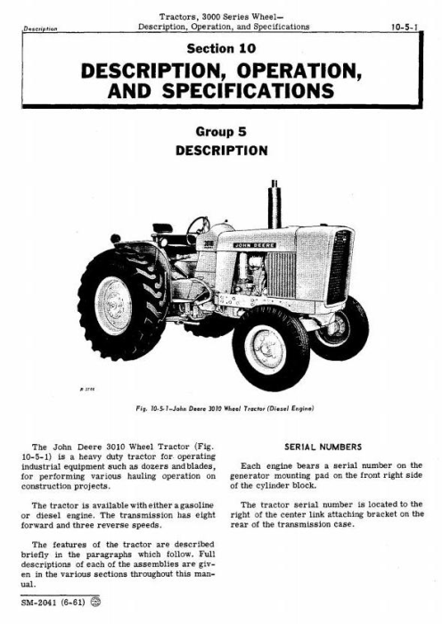 Second Additional product image for - John Deere 3010 Wheel Tractors Technical Service Manual (sm2041)