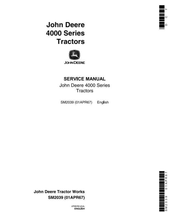 First Additional product image for - John Deere 4010, 4020 Tractors Service Technical Manual (SM2039)