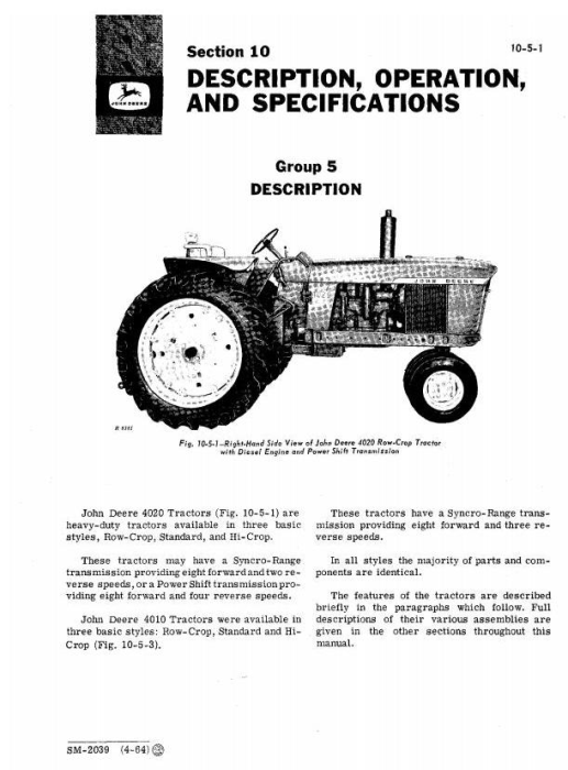 Second Additional product image for - John Deere 4010, 4020 Tractors Service Technical Manual (SM2039)