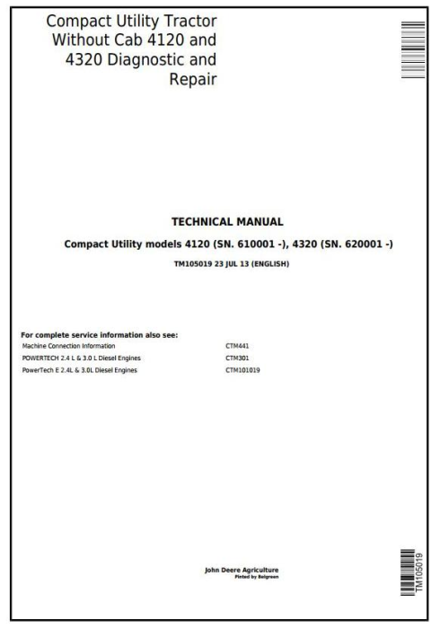 First Additional product image for - John Deere 4120, 4320 Compact Utility Tractor W/O Cab (SN. 610001-) Technical Service Manual (TM105019)