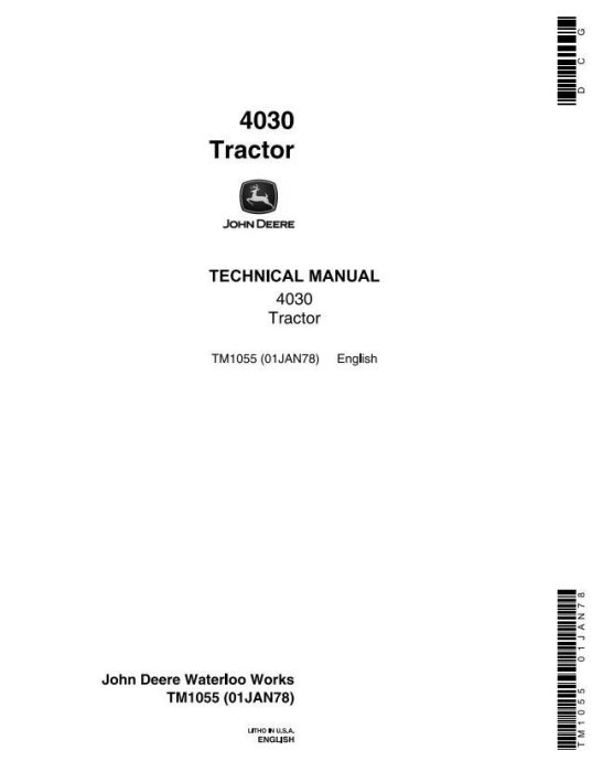 First Additional product image for - John Deere 4030 Tractors All Inclusive Technical Service Manual (tm1055)