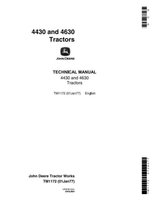 First Additional product image for - John Deere 4430 (SN.033109-), 4630 (SN.011717-) Row Crop Tractors Technical Service Manual (tm1172)