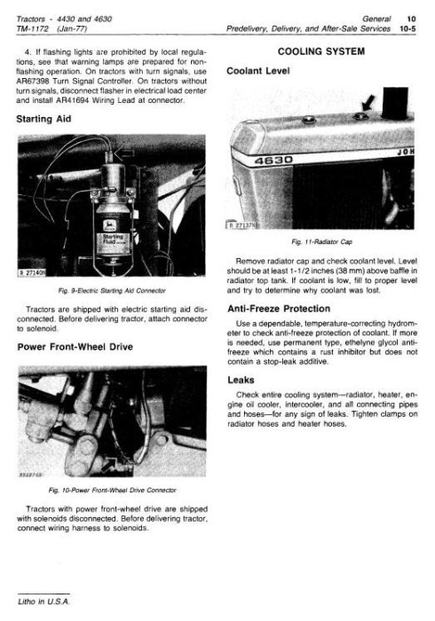 Second Additional product image for - John Deere 4430 (SN.033109-), 4630 (SN.011717-) Row Crop Tractors Technical Service Manual (tm1172)