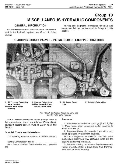 Fourth Additional product image for - John Deere 4430 (SN.033109-), 4630 (SN.011717-) Row Crop Tractors Technical Service Manual (tm1172)