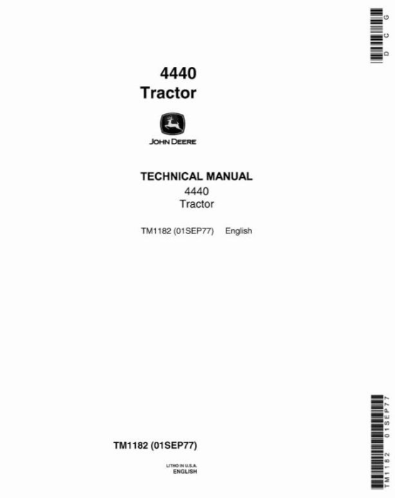 First Additional product image for - John Deere 4440 Row Crop Tractor Diagnostic and Repair Technical Manual (tm1182)