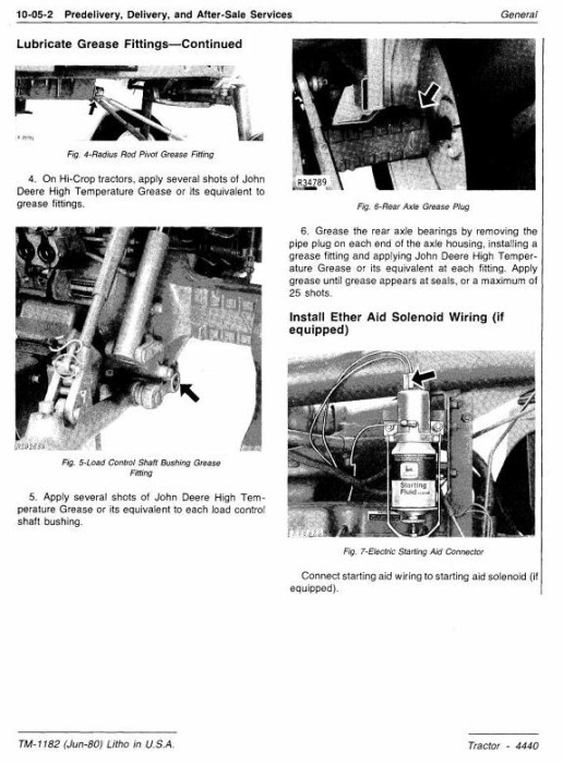 Second Additional product image for - John Deere 4440 Row Crop Tractor Diagnostic and Repair Technical Manual (tm1182)