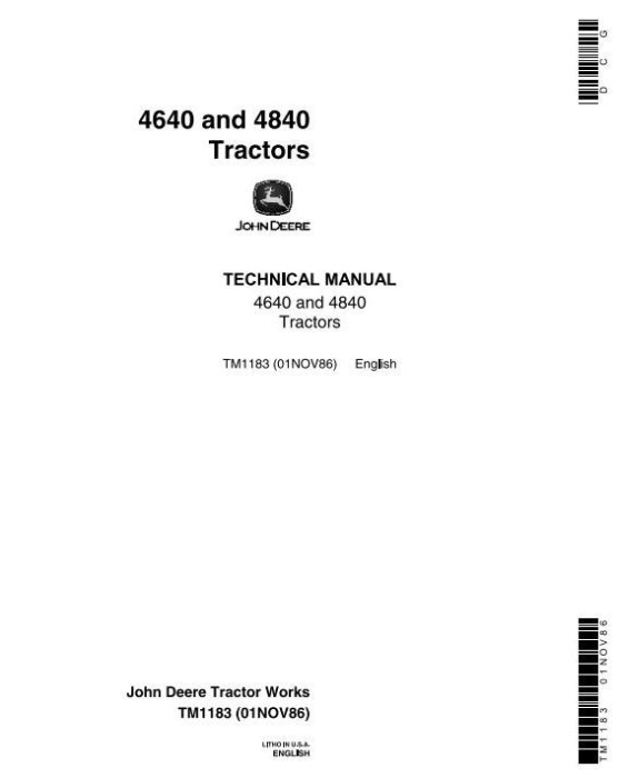 First Additional product image for - John Deere 4640, 4840 Tractors All Inclusive Technical Manual (tm1183)