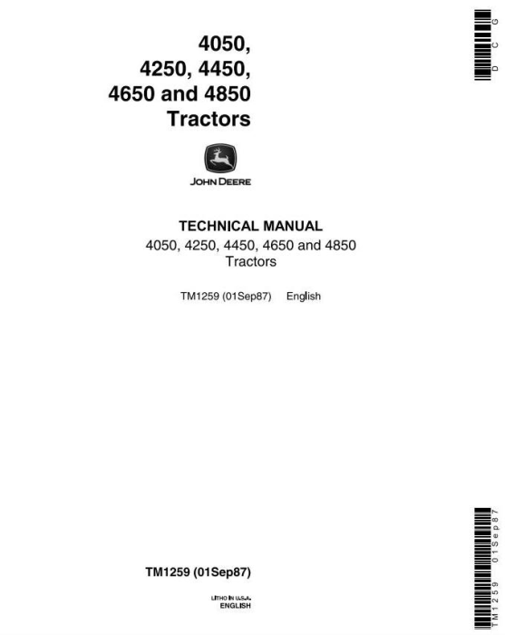 First Additional product image for - John Deere 4050, 4250, 4450, 4650, 4850 Tractors All Inclusive Technical Service Manual (tm1259)