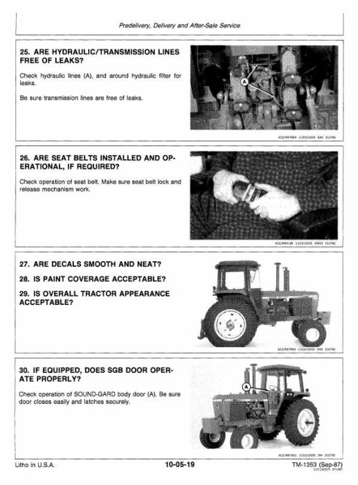 Second Additional product image for - John Deere 4050, 4250, 4450 Tractors All Inclusive Technical Service Manual (tm1353)