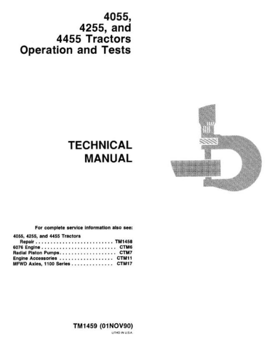 First Additional product image for - John Deere 4055, 4255, 4455 Tractors Diagnosis and Tests Service Technical Manual (tm1459)