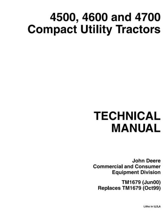 First Additional product image for - John Deere 4500, 4600, 4700 Compact Utility Tractors All Inclusive Technical Service Manual (tm1679)