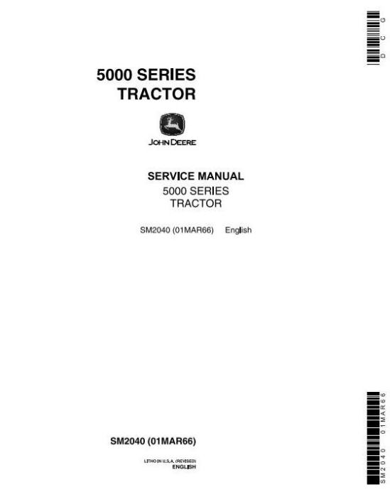 First Additional product image for - John Deere 5010, 5020 Tractors Diagnostic and Repair Technical Service Manual (sm2040)