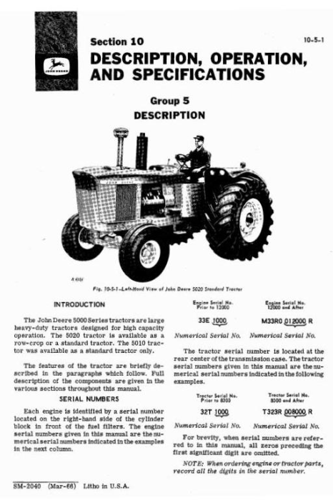 Second Additional product image for - John Deere 5010, 5020 Tractors Diagnostic and Repair Technical Service Manual (sm2040)