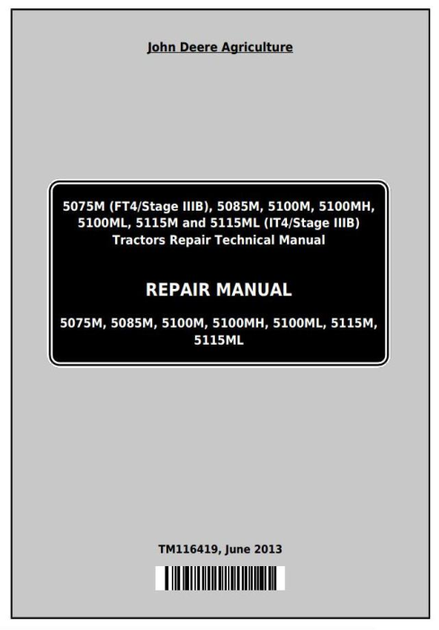 First Additional product image for - John Deere 5075M, 5085M, 5100M, 5100MH, 5100ML, 5115M, 5115ML Technical Repair Manual (TM116419)