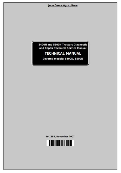 First Additional product image for - John Deere Tractors 5400N and 5500N All Inclusive Technical Service Manual (TM1585)