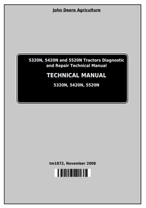 First Additional product image for - John Deere Tractors 5320N, 5420N, 5520N (North America) All Inclusive Technical Service Manual (tm1872)