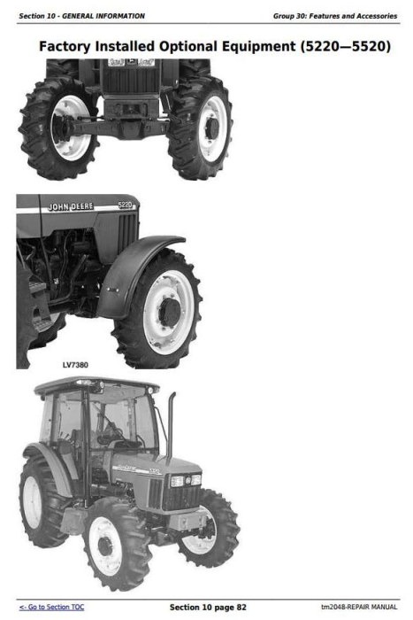 Third Additional product image for - John Deere Tractors 5220, 5320, 5420, and 5520 Service Repair Technical Manual (TM2048)