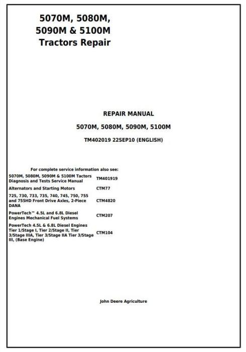 First Additional product image for - John Deere 5070M, 5080M, 5090M & 5100M - European Tractors Service Repair Manual (TM402019)