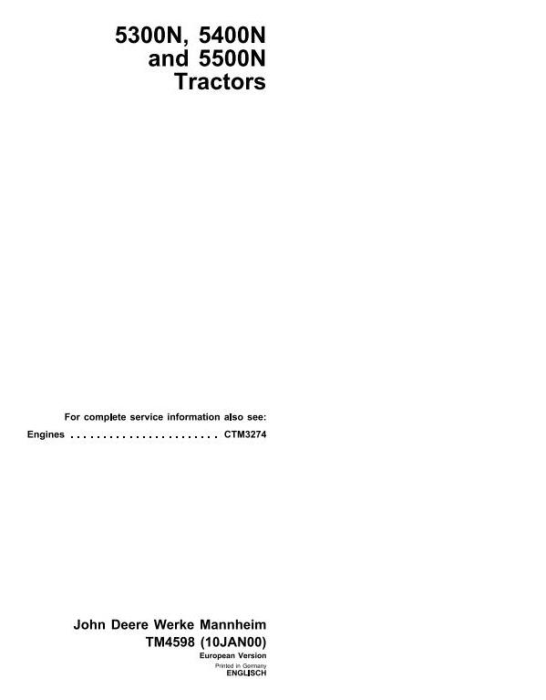 First Additional product image for - John Deere 5300N, 5400N, 5500N Tractors Diagnosis and Repair Technical Service Manual (tm4598)