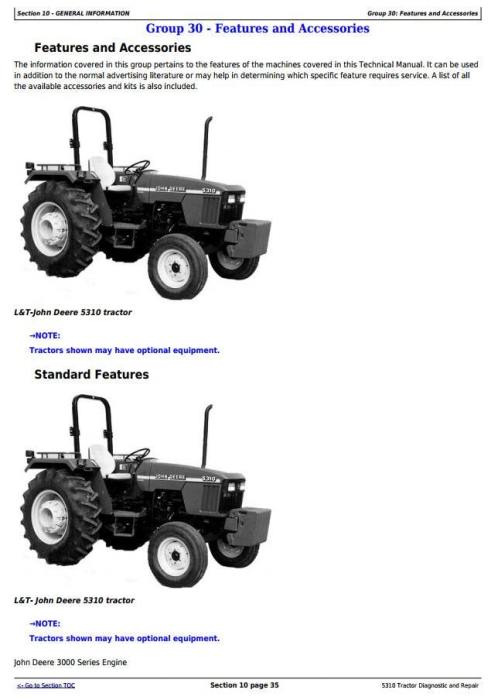 Second Additional product image for - John Deere 5310 Tractor India Tractors Technical Service Manual (tm4639)