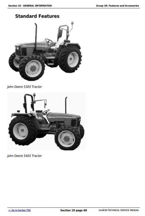 John Deere Tractors 5303 and 5403 (India) Service Repair