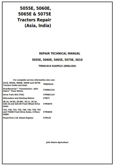 First Additional product image for - John Deere 5055E, 5060E, 5065E & 5075E (Asia, India) Tractors Service Repair Manual (TM901919)