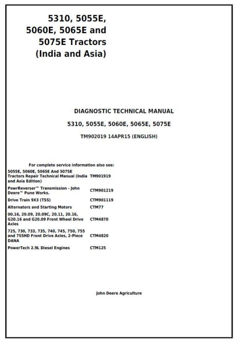 First Additional product image for - John Deere 5310, 5055E, 5060E, 5065E and 5075E India, Asia Tractors Diagnosis and Tests (TM902019)