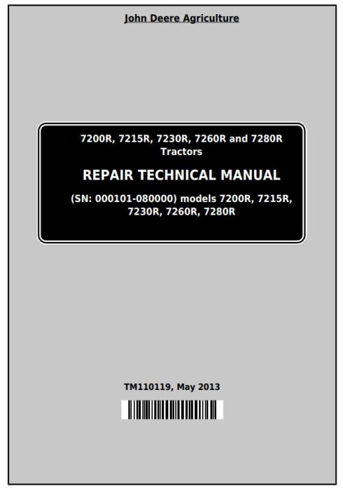 First Additional product image for - John Deere 7200R, 7215R, 7230R, 7260R, 7280R Tractors Service Repair Manual (TM110119)