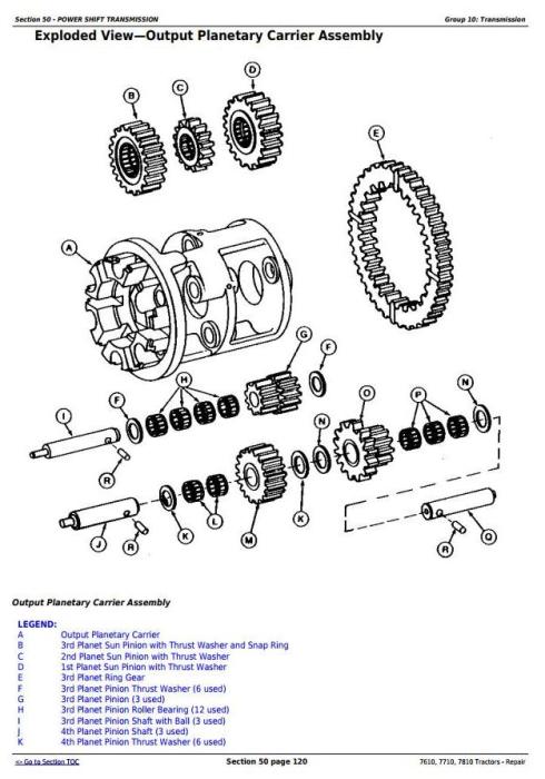 John Deere 7610, 7710, 7810 2WD or MFWD Tractors Service