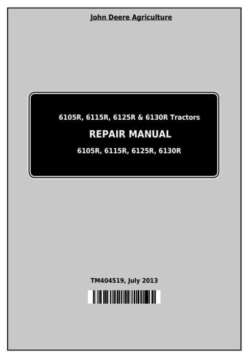 First Additional product image for - John Deere Tractors 6105R, 6115R, 6125R, 6130R (Worldwide) Service Repair Technical Manual (TM404519)