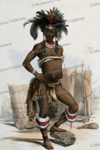 nc'pae, a young zulu in his dancing dress, george french angas, 1849