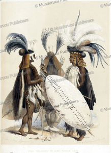 zulu soldiers of king panda's army, george french angas, 1849
