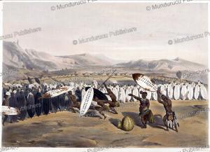 zulu king panda reviewing his troops at nonduengu, j. needham, 1849