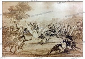 the zulu war dance in natal, prince alfred ernst albert, 1861