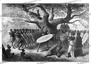 landeens or zulus exercising at sena in mozambique, emile bayard, 1866