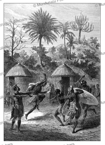 dance of the landeens or zulus at the portuguese settlement of shupunga in malawi, emile bayard, 1866