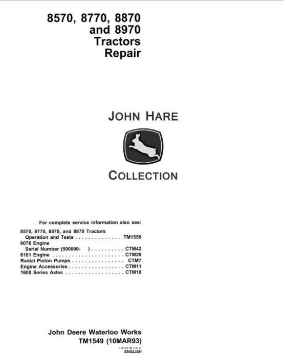 John Deere 8570  8770  8870  8970 4wd Articulated Tractors