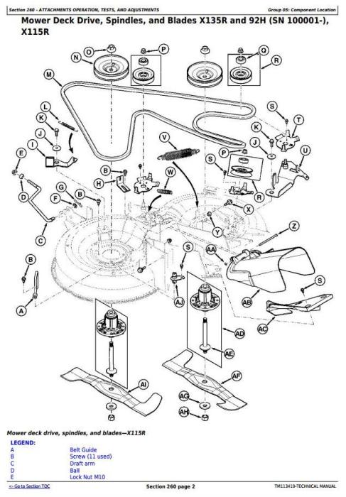 John Deere X115R, X135R, X155R, 92H, 107H Riding Lawn