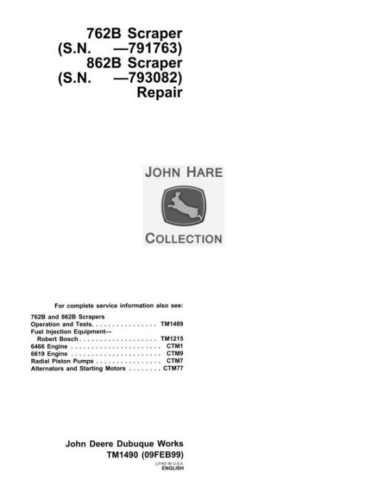 First Additional product image for - John Deere 762B (SN.-791763), 862B (SN.-793082) Scraper Service Repair Technical Manual (tm1490)
